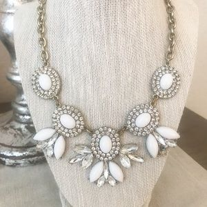 J. Crew Statement Necklace, white and gold